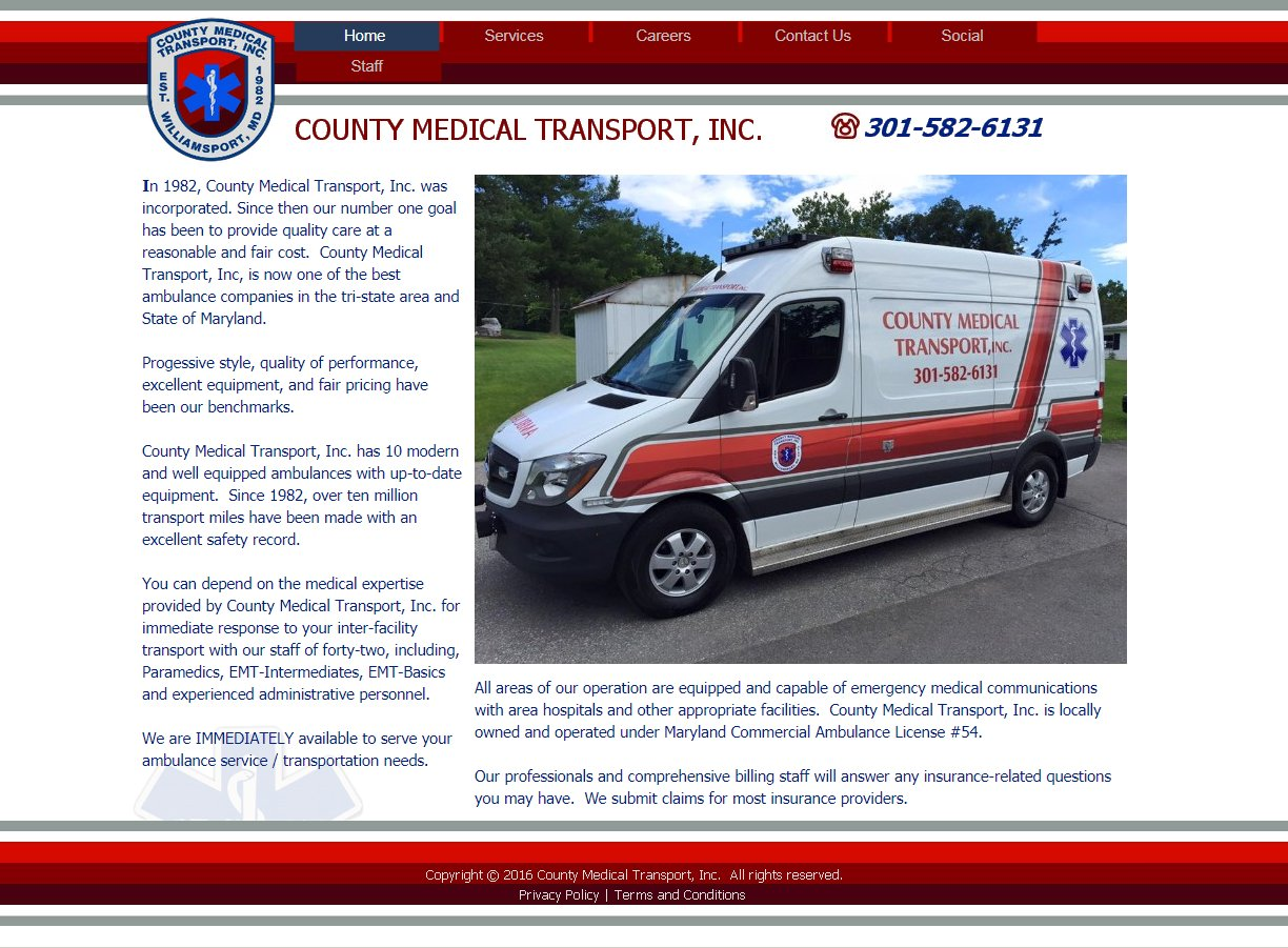 County Medical Transport Website Image