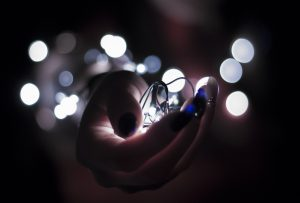 String lights in hand image.